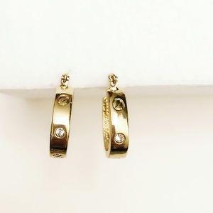 BANANA REPUBLIC gold & crystal classic hoops NWT